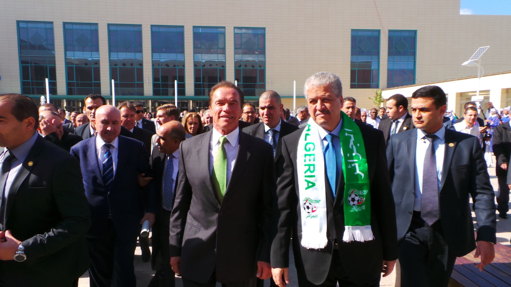 Arnold Schwarzenegger and Algerian Prime Minister, Mr. Abdelmalek Sellal, at the African High-Level Conference on the Green Economy in Oran. February 2014.